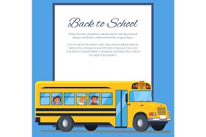 Back to School Poster with School Bus and Kids
