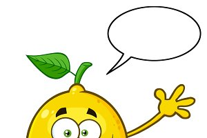 Lemon Fresh Fruit With Speech Bubble