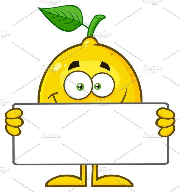 Lemon Fruit Holding A Blank Sign