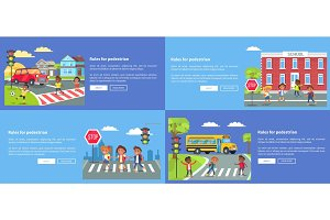 Rules for Pedestrians Collection of Safety Posters