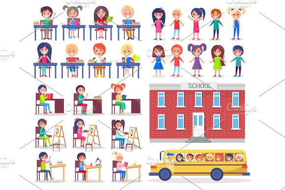 Children During Lessons And Ride In School Bus