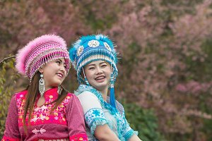 Two Hmong girls with traditional