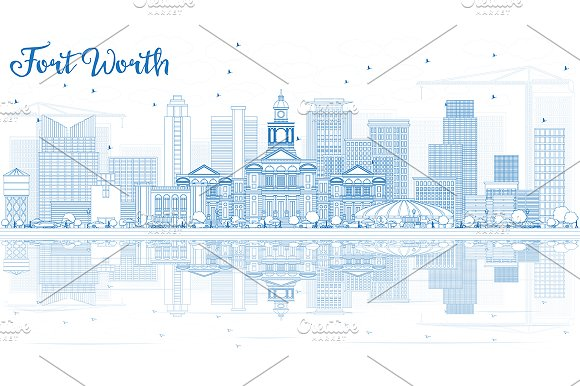 Outline Fort Worth Skyline
