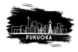 Fukuoka Japan Skyline Silhouette.
