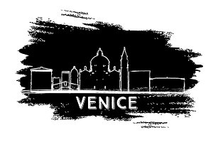 Venice Italy Skyline Silhouette.