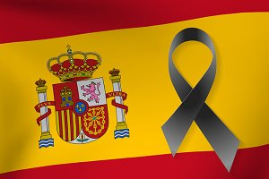 Spain flag with black ribbon