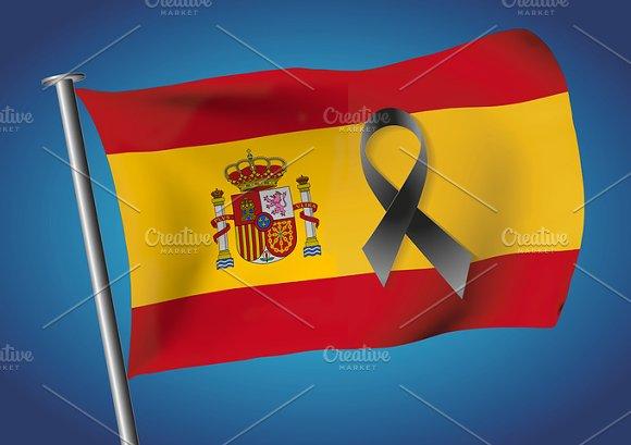 Spain Flag With Black Ribbon