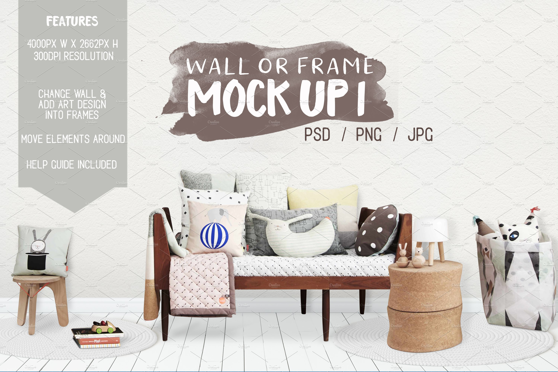 Kids Room Wall Frame Mock Up 1 Print Mockups Creative