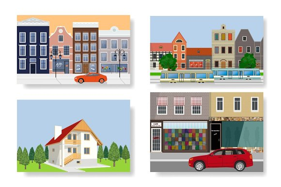Set Of Illustrations Houses