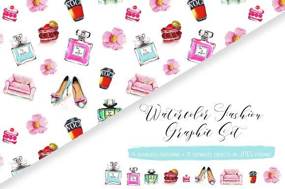 Watercolor fashion graphic set