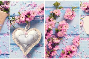 Collage with sakura flowers
