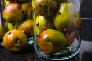 Spiced Seckel pears with cloves