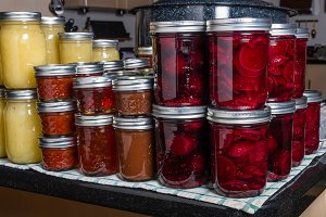 Preserved foods in mason jars