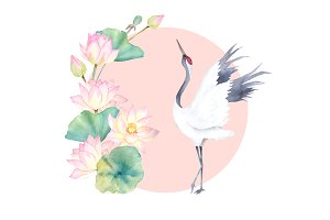 Watercolor Crane With Lotus