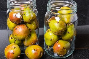 Spiced Seckel pears