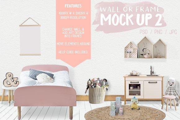 Kids Room Wallframe Mock Up 2 Product Mockups Creative Market