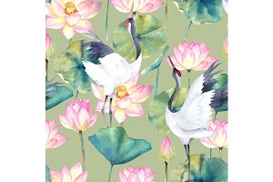 Watercolor Pattern With Crane