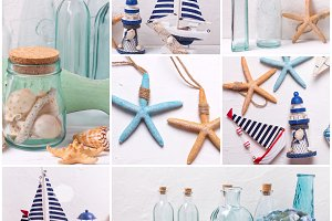 Collage from ocean theme photos