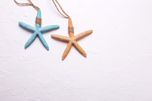 Starfish on texture background.