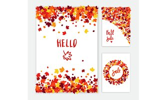 Autumn vector greeting card set
