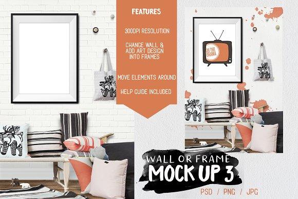 Kids Room Wall Frame Mock Up 3