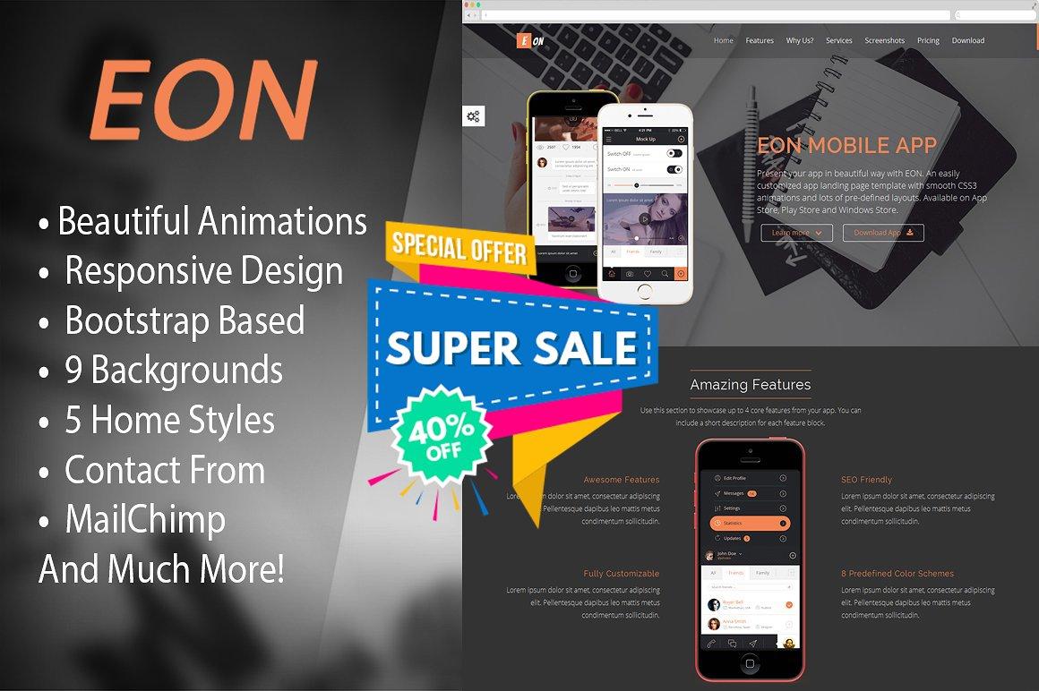 EON - Responsive App Landing Page ~ Bootstrap Themes ~ Creative Market