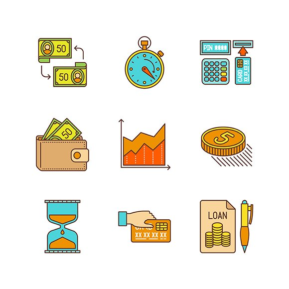 Lineart Colored Financial Icon Set