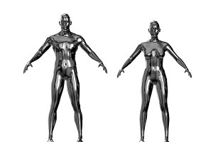 Metallic man and woman silver