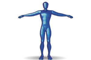 wireframe man metallic blue