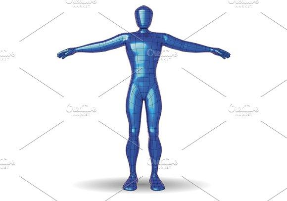 Wireframe Man Metallic Blue