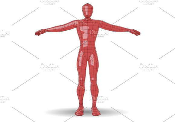 Wire Mesh Man Plastic Red