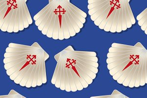 Pilgrim scallop seamless pattern