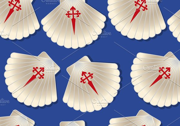 Pilgrim Scallop Seamless Pattern