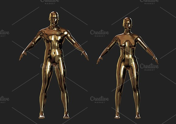 Shiny Golden Man And Woman