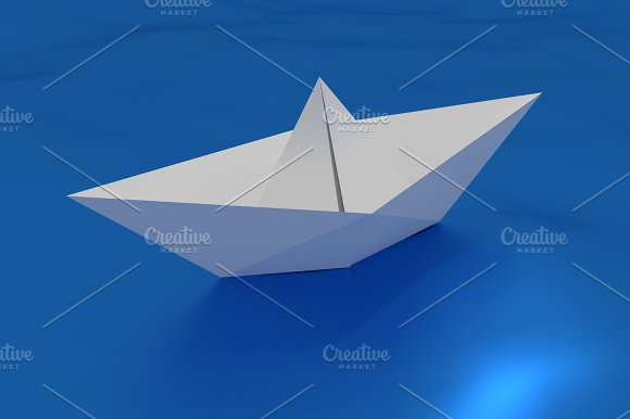 Paper Ship Floating On A Wavy Sea