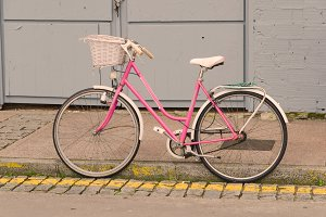 bicycle in pink retro style