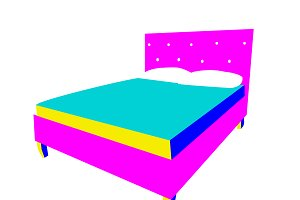 3D bed icons, neon color vector