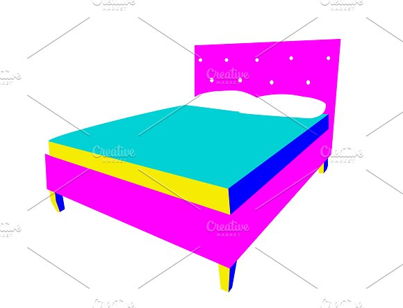 3D Bed Icons Neon Color Vector