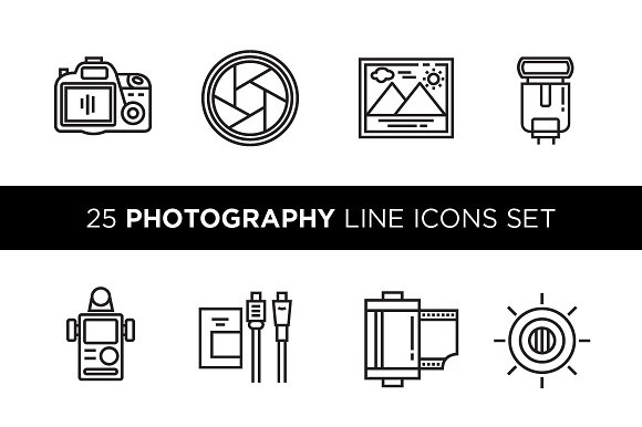 25 Photography Line Icons Set