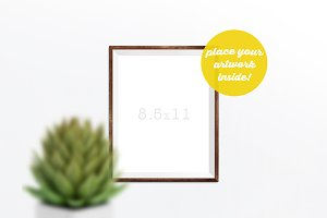 Frame Mockup with a Potted Flower
