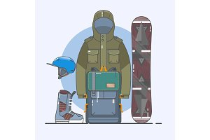 Snowboard accessories.Winter sports icon set. Line art collection of stock vector clipart.