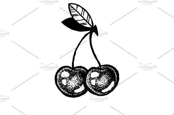 Sketch Of Cherries Dot Work