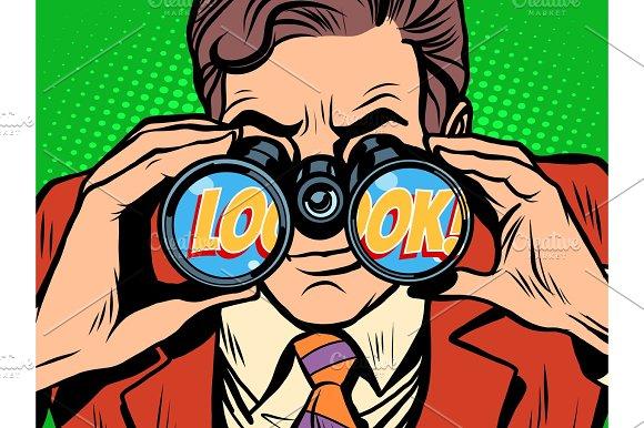 Look Businessman Looking Through Binoculars