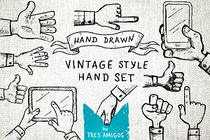Hand drawn vintage hand set