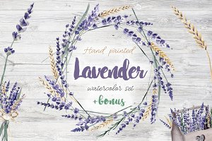 Lavender Watercolor Set Clipart