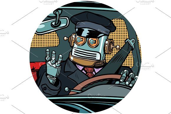 Driver Robot Drone Pop Art Avatar Character Icon