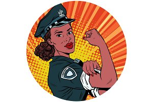 we can do it black police woman African American pop art avatar