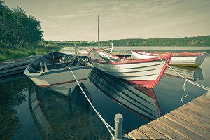 Wooden Boats with Paddles