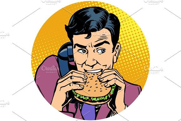 Businessman Eating A Burger And Talking On The Phone Pop Art Ava