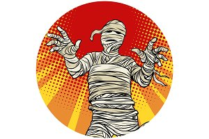 Egyptian mummy walking pop art avatar character icon